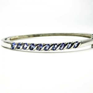 Natural Tanzanite Silver Bracelet
