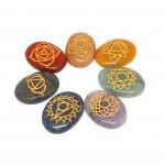 7 Chakra Crystal Stone Set with Sacred Sanskrit Symbols