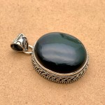 Natural Black Obsidian Sterling Silver Pendant