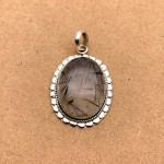 Natural Black Rutilated Sterling Silver Pendant