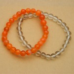 Natural Carnelian and Rock Crystal Bracelet