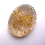 15.04 Carat Oval Cabochon Natural Rutilated quartz Gemstone