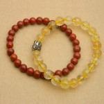 Natural Jasper and Rutilated Quartz Bracelet