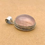 Natural Rose Quartz Sterling Silver Pendant