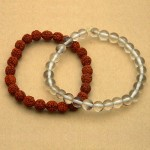 Natural Rudraksha and Rock Crystal Bracelet