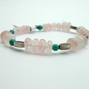 Turquoise & Rose Quartz Gemstone  Bracelet