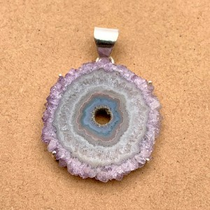 Natural Amethyst Rock Sterling Silver Pendant
