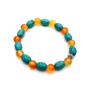 Natural Carnelian & Turquoise (Firoza) Bracelet