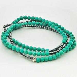 Turquoise (Firoza) & Hematite Gemstone Bracelet
