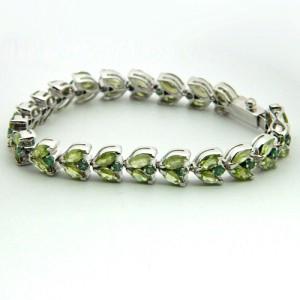 Peridot Silver Gemstone Bracelet