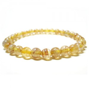 Natural Golden Rutilated Gemstone Bracelet