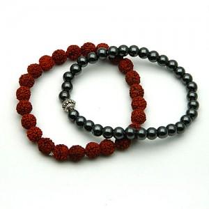 Natural Hematite & Rudraksha Bracelet