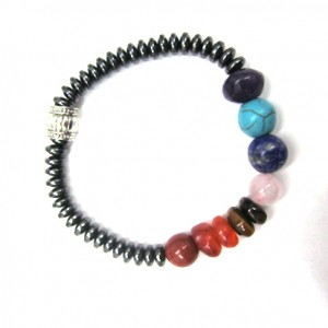 Seven Chakra and Hematite Gemstone Bracelet