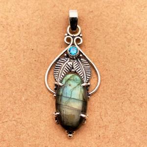 Natural Labradorite Sterling Silver Pendant