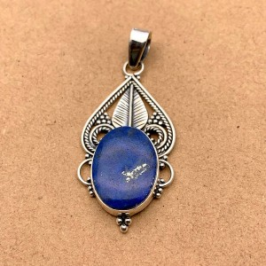 Natural Lapis Lazuli Sterling Silver Pendant