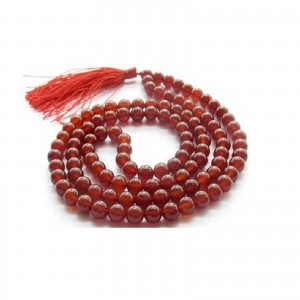Natural Red Hakik 108 Beads Japa Mala Rosary