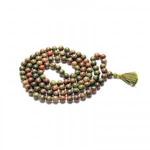 Natural Unakite 108 Beads Japa Mala Rosary