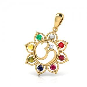 Navratna Gemstone  Pendant  in 18K Hallmark Gold