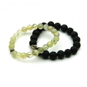 Natural Prehnite & Lava Bracelet