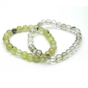 Natural Prehnite & Rock Crystal Bracelet
