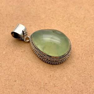 Natural Prehnite Sterling Silver Pendant