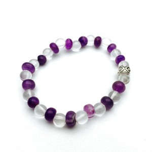Natural Rock Crystal & Amethyst Bracelet