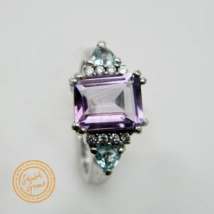 Amethyst (Katela),blue topaz Silver Ring