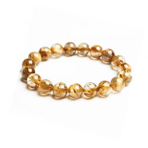 Natural Golden Rutilated Gemstone Beads Bracelet