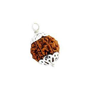 Natural 7 Mukhi Rudraksha Lab Certified Pendant in Silver