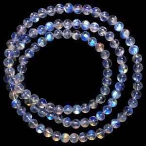 blue rainbow moonstone beads mala rosary