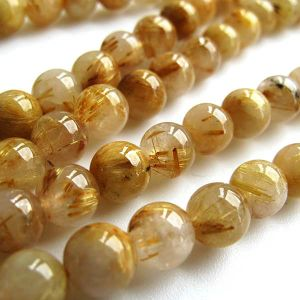 Natural Golden Rutilated AAA Quality Gemstone Beads String