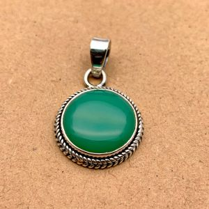 Natural Green Onyx Sterling Silver Pendant