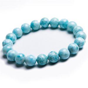 Natural Larimar Beads Bracelet