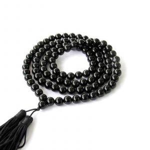 Natural Black Hakik 108 Beads Japa Mala Rosary 24 inch