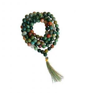 Natural Blood Stone 108 Beads Japa Mala Rosary (24 inch)