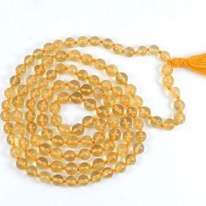 Natural Citrine 108 Beads Japa Mala Rosary