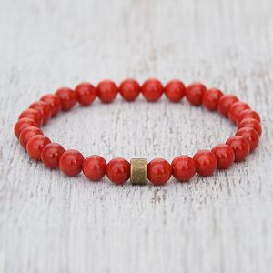 Red Coral Munga Beads Bracelet