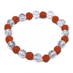Natural Rudraksha & Rock Crystal Gemstone Bracelet