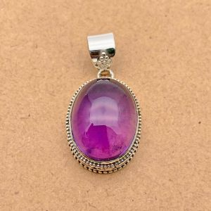 Natural Amethyst Sterling Silver Pendant