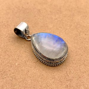 Natural Blue Moonstone Sterling Silver Pendant
