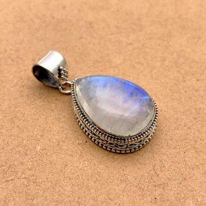 Natural Blue Moonstone Sterling Silver Pendant