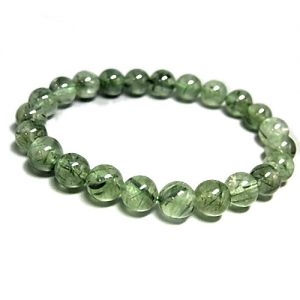 Natural Green Rutilated Gemstone Bracelet